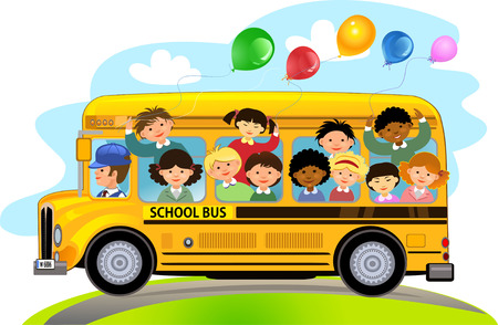 Cartoon School Kids Riding een School Bus