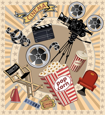 film projector: movie projector Illustration