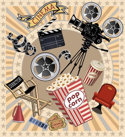 cinta pelicula: proyector de cine Vectores