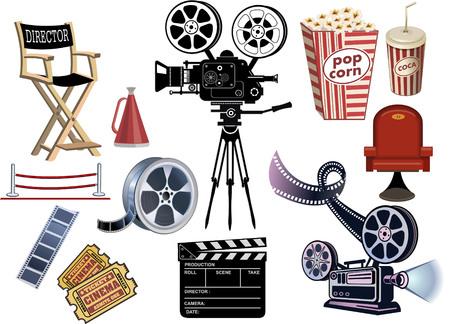 cinematography: set of cinematography cinema and movie vector illustration