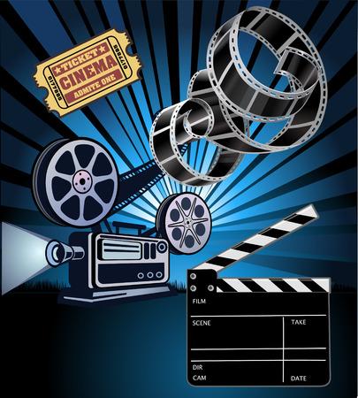 film reel: Film Reels and filmstrip Illustration