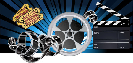 clapper board: Film Reels and Clapper board Illustration