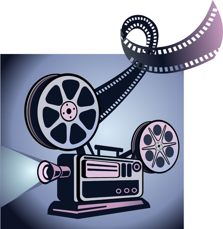 super 8: Old movie projector with film reels Illustration