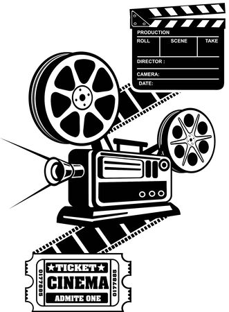 clapper board: Film Reels and Clapper board  cinema ticket