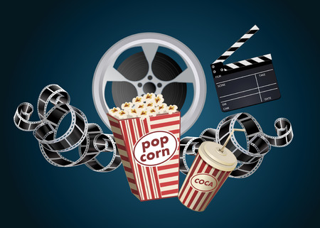 blue  red: movie film reel and popcorn
