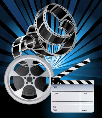 roll film: Film Reels and filmstrip. Clapper board