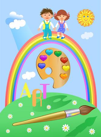 proficiency: Art palette Rainbow with Children