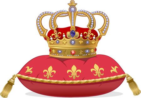 Royal Gold Crown auf dem Kissen Standard-Bild - 49651003