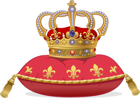 Royal Gold Crown op het kussen Stock Illustratie