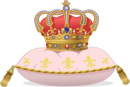luxuriance: Royal Gold Crown on the pillow Illustration