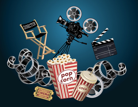 movie projector: Film Reels, Clapper board and movie projector Illustration