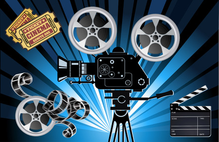 Film Reels, Clapper board and movie projector Illustration