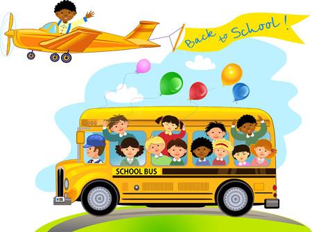 small plane: Cartoon of happy school children