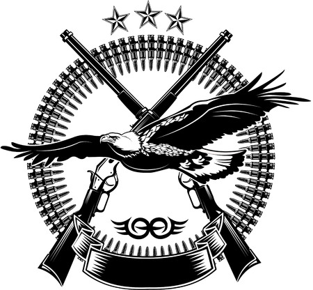 tattoo arm: Eagle and rifle