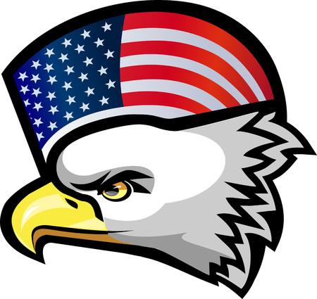patriotic eagle: American eagle and flag