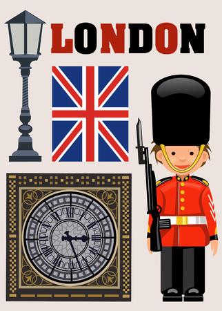 royal guard: A Royal Guard  and  Big Ben clock Illustration