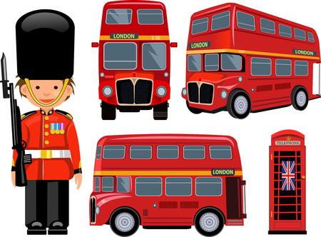 royal guard: A Royal Guard  and  London Bus