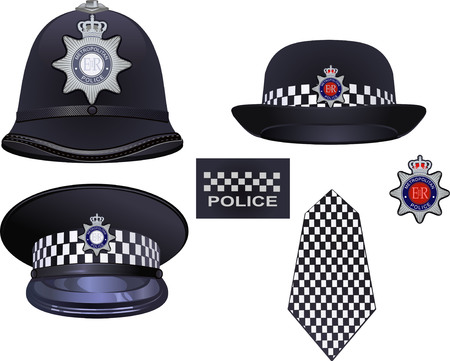 police badge: A traditional authentic helmet and hat of metropolitan British police officers