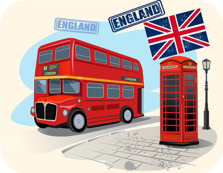 iconic architecture: red phone booth and red bus in London