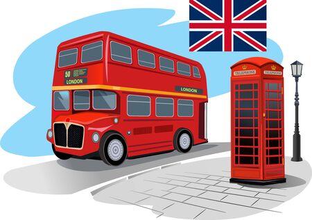 bus anglais: cabine t�l�phonique rouge et bus rouge � Londres