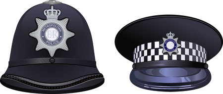 A traditional helmet of metropolitan British police officers