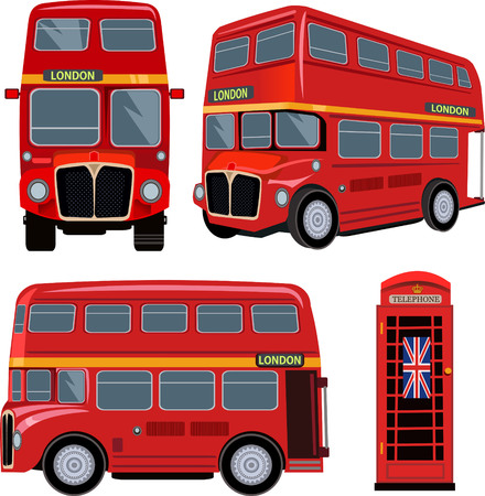 red telephone box: London Bus Illustration