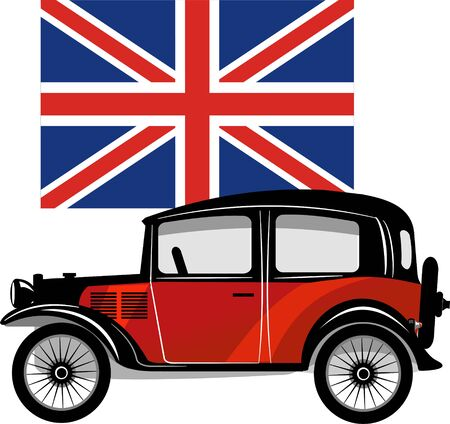 small car: Old Small car with British flag.