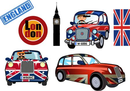 small car: Cartoon Small car with British flag.