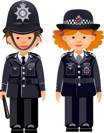 British metropolitan police officers. Traditional authentic helmet