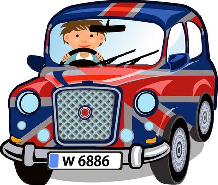 small car: Cartoon Small car with British flag Illustration