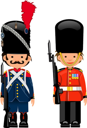 guard duty: Waterloo English and French Guards Illustration