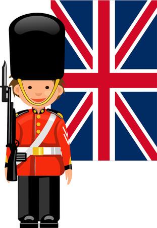 buckingham palace: A Royal Guard at Buckingham Palace Illustration