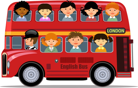 London Bus and children tour Illustration