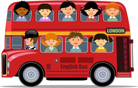 London Bus and children tour Illustration