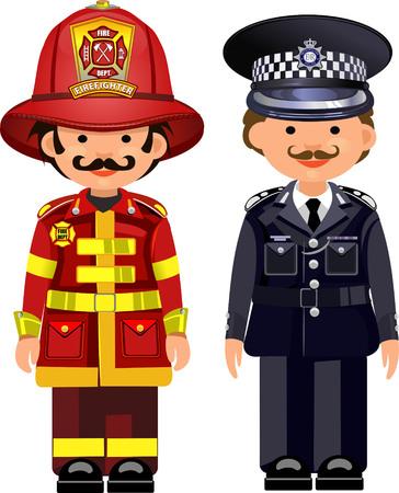 bombera: El oficial de policía y de bomberos