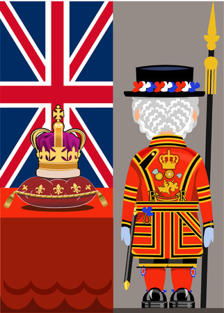 elizabeth tower: Beefeater costume at Tower of London and Crown, England