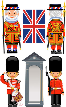 beefeater: A Royal Guard at Buckingham Palace. Beefeater costume at Tower of London, England