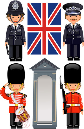 A Royal Guard at Buckingham Palace. British metropolitan police officers.