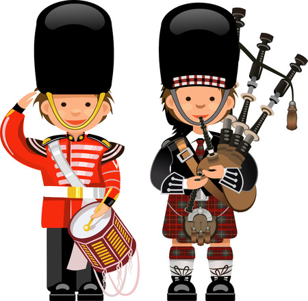 guard duty: A Royal Guard drummer Scottish bagpiper Illustration