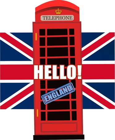 phone isolated: Red, Britain, old telephone