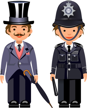officers: Cartoon english gentleman & British metropolitan police officers. Traditional authentic helmet