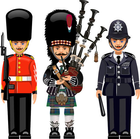 gorra polic�a: Un Guardia Real en el Palacio de Buckingham. Polic�as metropolitanos brit�nicos.