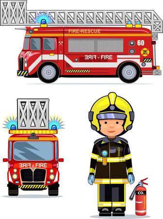 firefighter: illustration of a firefighter car