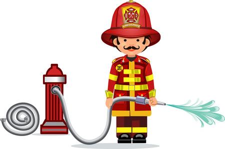 manguera: Ilustración de un bombero