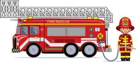illustration of a firefighter car