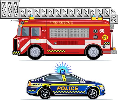 Rescue Vehicles (Fire Engine,  Police Car).