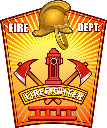 voiture de pompiers: insigne de sapeur-pompier