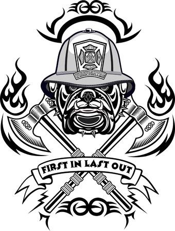 pracoviště: Hasič Tetování Ilustrace