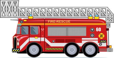 bombero de rojo: Cami�n de bomberos Vectores