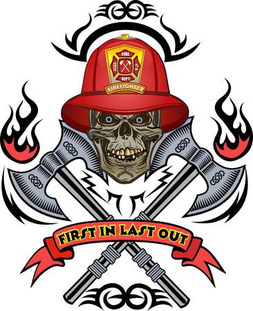 消防士のタトゥー  イラスト・ベクター素材